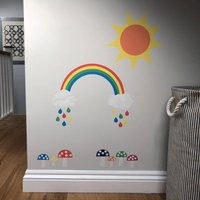 Rainbow, Sun And Toadstools Wall Sticker Set