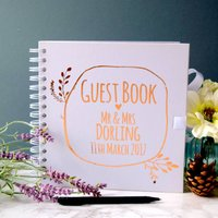 Personalised Wreath Wedding Guest Book, Brown/Gold/Silver