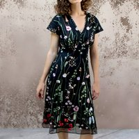 Black Embroidered Lace Dress