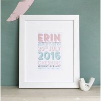 Personalised Girls Birth Date Print