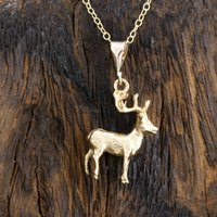 Solid 9ct Gold Stag Pendant/Necklace, Gold