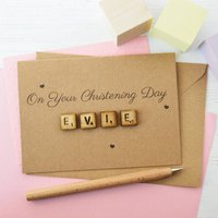 Personalised Christening Wooden Tiles Card, White