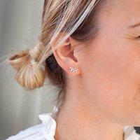 Miniature Leaf Sterling Silver Personalised Earrings, Silver