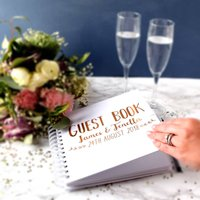 Personalised Wedding Guest Book With Heart Swashes