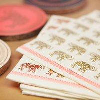 Gold Foil Elephant Print Paper Napkins