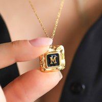 Vintage Gold Initial Necklace, Gold