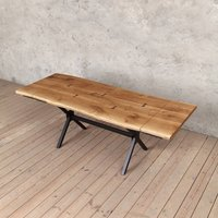 Bentley Extendable X Shaped Live Edge Oak Table