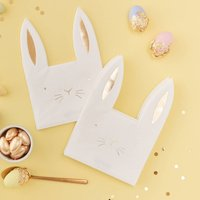 Easter Bunting Shaped Foiled Paper Napkins Pack Of 16