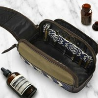 Canvas Duo Zip Toiletry Wash Bag With Manicure Set