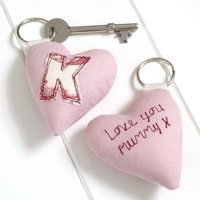 Personalised Initial Heart Keyring, Cream/Red/Blue