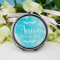 Personalised Wedding Compact Mirror, Pink/Blue/Orange