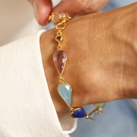 Multicoloured Gemstone Bracelet In 18ct Gold Vermeil, Gold