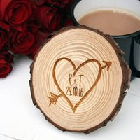 Tree Slice Love Heart Coaster