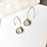 Mini Circle White Jade Dropper Earrings