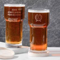 Personalised L S A Pint Glass With Ash Wood Coaster