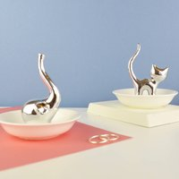 Personalised Elephant Or Cat Ring Stand And Dish, Gold/Silver/Copper