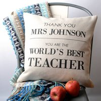 'World's Best Teacher' Cushion Cover, Black/White
