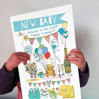 Personalised Big New Baby Boy Card