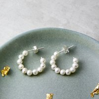 Freshwater Pearl Hoop Huggie Stud Earrings