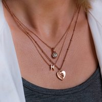 Zodiac And Heart Initial Layered Necklace Set