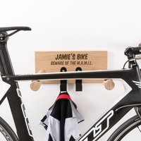 Personalised Text Oak Bike Rack With Hanging Hooks