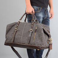 Waxed Canvas Leather Classic Holdall Bag Personalised, Brown