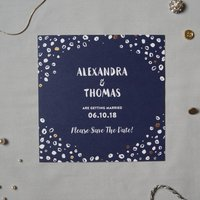 Navy And Gold Dot Wedding Save The Date