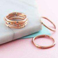 Rose Gold White Topaz November Birthstone Ring, Gold