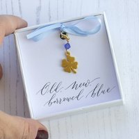 Something Blue Lucky Four Leaf Clover Charm
