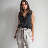 Black Linen Sleeveless Shirt
