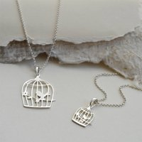 Sterling Silver Song Bird Necklace, Silver