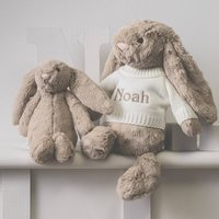 Personalised Beige Bashful Bunny Soft Toy