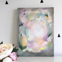 Modern Abstract Wall Art Grey Pink Original Canvas