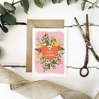 Floral Heart Birthday Card