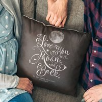 'I Love You To The Moon And Back' Personalised Cushion, Midnight/Grey/Blue