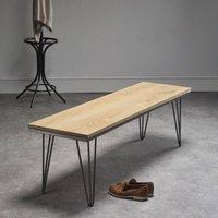 Solid Oak Bench With Industrial Steel Legs