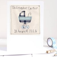 Personalised New Baby Boy Card, Blue