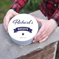 Personalised Biscuit Tin, Blue/Spring Green/Green