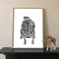 Black Pug Dog Portrait Print