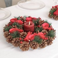 Red Rose Christmas Candle Table Centrepiece
