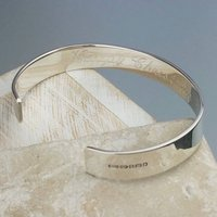 Personalised For Free Men's Silver Bracelet Bangle, Silver