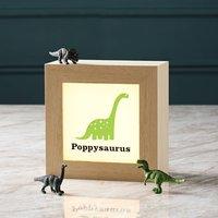 Personalised Dinosaur Lightbox In Solid Wood, Orange/Lime Green/Lime