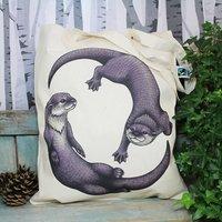 Otters Illustration Fairtrade + Organic Tote Bag