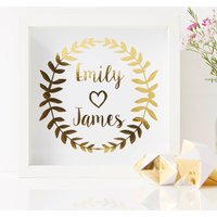 Personalised Laurel Framed Couples Print, Gold/Copper/Silver