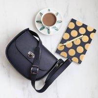 Leather Cross Body Handbag, Navy Blue