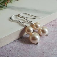Bliss Pearl And Silver Wedding Earrings, Silver