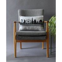 London Skyline Cushion In Knitted Lambswool