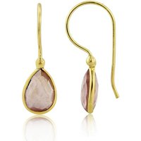 Rose Quartz Hook Earrings In Gold Vermeil, Gold