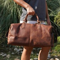 Genuine Leather Gym Bag With Shoes Strorage