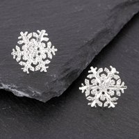 Snowflake Earrings In Solid Sterling Silver, Silver